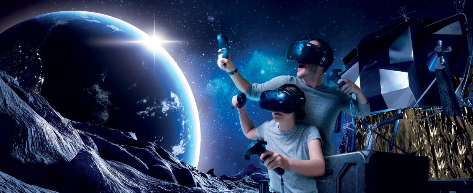 moon game blue earth people vr gaming fun
